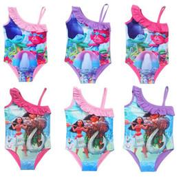 Wholesale Metallic Swim - 20Styles Trolls Kids Swimwear 2017 Movie Moana Trolls Print Swimsuit One-Piece Children Summer Bikini Beach Swim Clothes Pool Bathing Suits