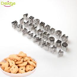 Wholesale Letter Sugar - Delidge 37 pcs set Letter Digital Biscuit Mould Stainless Steel DIY Sugar Cookies Birthday Wedding Cake Mould Baking Tool