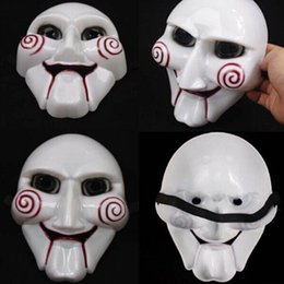 Wholesale Scary Saw Masks - Halloween Party Mask Masquerade Plastic Costume Scary Full Face Saw Puppet Halloween Gift Ball Masks for Christmas Day Men Adults Toy