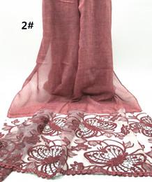 Wholesale Flower Hijab Green - High quality plain solid color unilateral lace flower large size scarf shawl pashmina women Muslim hijab fashion soft 10pcs lot