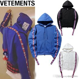 Wholesale Long Black Hooded Cardigan - New VETEMENTS Loves Hip Hop Hooded Hoodie Oversize Wandering Embroidered Men Women Plus Cashmere Loose Black White Blue Hoodie M-2XL