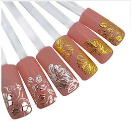 Wholesale Nails Metal 3d - 2017 New nail 3D Stickers Metal Nail Sticks Bow Flowers Gold and Silver Models Nail Jewelry Tools
