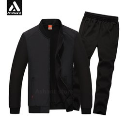 Wholesale Men S Jacket 7xl - Wholesale-2016 Men's Brand Tracksuits Set Jacket+Pants Plus Size 4XL 5XL 6XL 7XL 8XL Casual Autumn&Spring Fitness Clothing