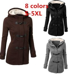 Wholesale Long Khaki Feather Coat - Winter Jacket Women Hooded Winter Coat Fashion Autumn Women Parka Horn Button Coats Abrigos Y Chaquetas Mujer Invierno DHL 170916