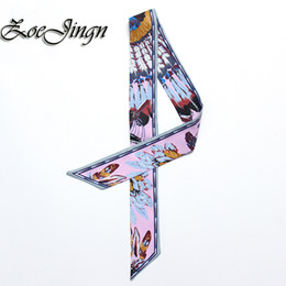 Wholesale Red Silk Small Scarves - Wholesale-2016 Womens Feather Flower Silk Twilly Scarf Small Long Bag Fashionable Brand Colored kerchief Multifunctional Headdress