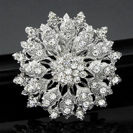 Wholesale Wholesale Rhinestone Flower Brooch - Luxury Rhinestone Pin Brooch Bridal Flower Corsage Clear Crystal Wedding Bouquet Brooches Pins Breastpin for Men Women Wedding Jewelry