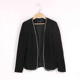 Wholesale Suit Elegant Ladies - 2017 New Black Blazer Formal Jacket with pearl decoration Hidden Breasted Women's suits Female Women Suit Elegant Office Ladies outwear #52