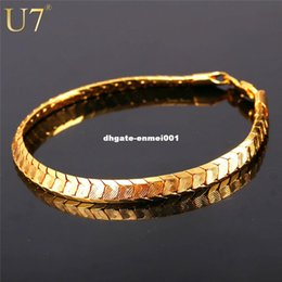 Wholesale Jewelry For Mens - U7 Scale Chain Bracelets For Men Jewelry Gold Platinum Plated Mens Bracelets 2016 Fashion Indian Jewelry Wholesale H811
