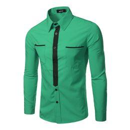 Wholesale Male Dress Design - Wholesale- Fake Tie Design Men Shirt 2016 Brand Long Sleeve Pockets Casual Shirts Male Chemise Homme Green Red Business Dress Shirt Men