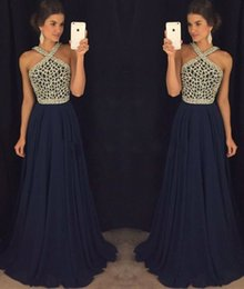 Wholesale Halter Top Chiffon Evening Gown - Dark Navy A Line Chiffon Prom Dresses 2017 Halter Crystals Beading Top Sexy Backless Evening Dresses Vintage Formal Party Gowns
