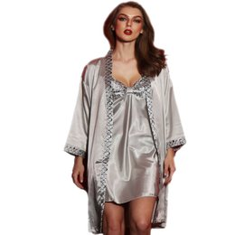 Wholesale Womens Satin Silk Pajamas - Wholesale- 2017 womens 2 piece sets female bathrobe silk satin sleepwear women silk pajamas dentelle robe nightwear nightgown lingerie