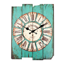 Wholesale rustic lighting kitchen - Wholesale- Diameter 29cm Vintage Rustic Wooden Office Kitchen Home Coffeeshop Bar Large Wall Clock Decor 41x35x45cm