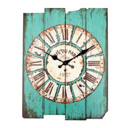 Horloges murales en bois rustiques en Ligne-Gros- Diamètre 29 cm Vintage Rustique En Bois Bureau Cuisine Maison Coffeeshop Bar Grande Horloge Murale Décor 41x35x45cm