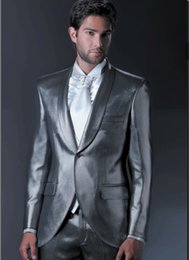Wholesale Grey Silk Tuxedo - Custom made 2017 bright silk grey boys prom suits tuxedos shawl collar one button formal men suit (Jacket +pants)