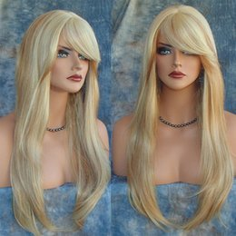 Wholesale Cosplay Wigs For Cheap - no lace Daily wigs Cosplay Hair Peruca Pelucas Blond Ombre Wig False Hair Synthetic Wig For Black Women Afro Long Natural Straight Cheap Hai