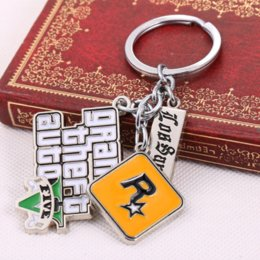 Wholesale Grand Theft Auto V Game - GTA5 Game Grand Theft Auto V Keychain can Drop-shipping Metal Key Rings For Gift Chaveiro Key chain Jewelry for cars YS10856