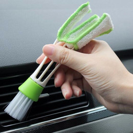 Wholesale Household Outlet - Multifunction double slider car air conditioning outlet clean brush window blinds keyboard cleaner brush household clean tool