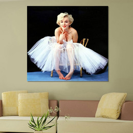 Wholesale Wedding Oil Paintings - Single Unframed Marilyn Monroe Wedding Dress Oil Painting On Canvas Giclee Wall Art Painting Art Picture For Home Decorr