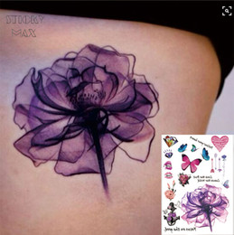 Lila diamantschmetterling online-W02 Purple Aquarell Dreamy Lotus auf der Taile Tattoo mit Schmetterlingsherz Diamond Pattern Tattoos