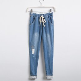 Wholesale Thin Korean Girls - Wholesale- Summer Korean fan casual relaxed girl Haren jeans female show thin elastic waist personality with cloth trousers female