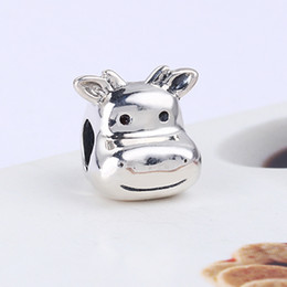 Wholesale Cow Plates - Wholesale Real 925 Sterling Silver Not Plated Lovely Cow European Charms Beads Fit Pandora Snake Chain Bracelet DIY Jewelry