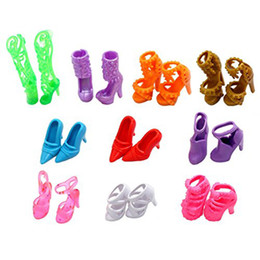Wholesale Dress Pairs Doll Shoes - 10 Pairs of Doll Shoes for Barbie Dolls Colorful Assorted Fashion Doll Shoes Heels Sandals Accessories Outfit Dress Xmas Gift