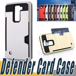 Wholesale Lg Optimus White - 2 In 1 Armor Defender Case Credit Card Slot Phone Cases TPU+PCCove For LG G5 K4 K8 V10 LS775 VS425 Optimus Zone 3