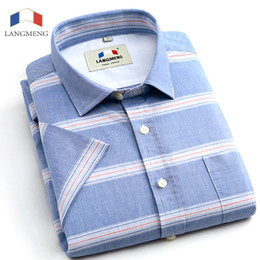 Wholesale Import Shirt - Wholesale- Langmeng 2016 Striped Men dress Shirts short Sleeve Casual Shirts Luxury High Quality China Imported Men 100% cotton shirts