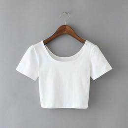 Wholesale T Shirt U Neck Wholesale - Wholesale- 3 Color U Neck Sexy Crop Top Women 2017 Ladies Short Style Stretch T Shirt Solid Basic Tee Summer Clothing