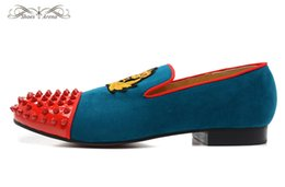 Wholesale Micro Dresses - MBL997T Size 36-46 Men Women Blue Suede Gold Embroidery Red Patent Leather Toe With Spikes Fashion Loafers,Gentleman Brand Party Dress Shoes