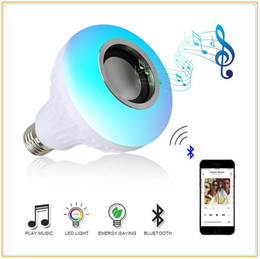 Wholesale E27 Wireless Remote - Wholesale E27 Smart RGB RGBW Bluetooth Speaker Bulb Music Playing Dimmable Wireless LED Light Lamp Player with 24 Keys Remote Control