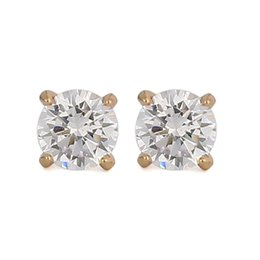 Wholesale Pearl Diamond Earrings Yellow Gold - 18k Gold Plated Rose Gold Tone Yellow Crystal Royal Journey Jewelry Eternity Stud Earring 1 items per lot