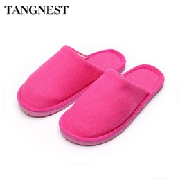 Wholesale Canvas Slippers For Men - Wholesale- Tangnest Men Plush Home Slippers Autumn Winter Soft Indoor Slippers For Women Candy Color Couple Warm Cotton Floor Shoes XWT528