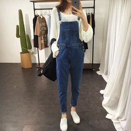 Wholesale Womens Plus Denim - Wholesale- 2017 Spring Boyfriend Denim Overalls For Women Rompers Womens Jumpsuit Ripped Plus Size Jeans Woman Casual Retro Salopette Femme