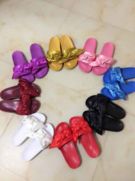 Wholesale High Heels Black Bow - 2017New Hot 9 color Rihanna Leadcat X Fenty Bandana Slide Bow Slippers,Ladies Fashion Slippers Black Burgundy Red Purple Pink 36-41 With Box
