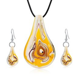 Wholesale Fashion Murano Glass Pendant - Fashion Jewelry Sets Mix Twisted Lampwork Glass Murano Inspiration Pendants Necklace and Earrings Jewelry Sets for Women