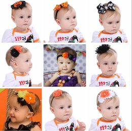 Wholesale Cheap Baby Costumes - Cheap Halloween costumes baby headbands handmade chiffon flower hair bands baby hair accessories children hair bows bowknot hairbands A552