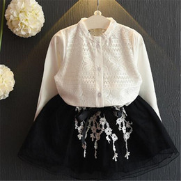 Wholesale Korean Two Piece Dresses - Girl Dresses Girls Clothing Set Korean Lace Blouse Lace Skirt Two Pieces Outfits Set Children Long Sleeve Boutique Kids Baby Clothes
