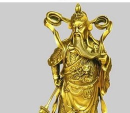 brass knives Promo Codes - brass A copper Guan Gong knife body ornaments robes Fortuna Wu Guan statue office lucky decorations