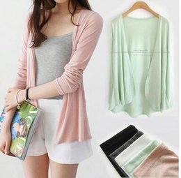 Wholesale Womens Sweater Shawl - Wholesale-Summer clothing knit cardigan sweater female shawl long-sleeved jacket thin air-conditioned shirt womens thin knit cardigan