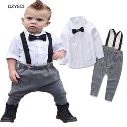 Wholesale Boys Outfits Formal Suit Shirt - 2017 Gentleman New Baby Boy Wedding Set Boutique Clothes Fashion Kid Bow Tie White Shirt Top+Sling Pant 2PCS Suit Children Costume Outfits