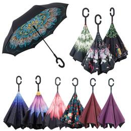 3D fleur coupe-vent pliage inverse double couche parapluie inversé auto stand à l'intérieur de protection contre la pluie c crochet mains enfants parapluie b ? partir de fabricateur