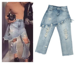 Wholesale Jeans Star Women - European fashion women's new sexy punk star same style holes ripped loose faux 2 pieces denim jeans long pants culottes trousers SMLXLXXL
