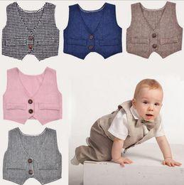 Wholesale Toddler Boys Formal Suits - Newborn Waistcoat Photography Vest Toddler Gentleman Costumes Baby Weddings Suit Vest Formal Vests Tops 5 Colors OOA2599