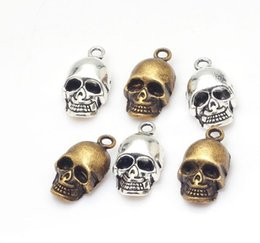 Wholesale Antique Bronze Skull Charm - new 100pcs Vintage 3D Skull Charms pendant Antique silver bronze For diy necklace Jewelry Making findings 12x20mm