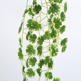 Wholesale Silk Grape Vine Garlands - Wholesale-New Fasion 1 String Wall Vine Silk Fake Garland Grape Plastic Green Leaves Rattan Artificial Good Quality