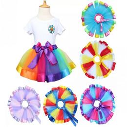 Wholesale Rainbow Ruffle Skirt - Hot Children Rainbow Tutu Dresses New Kids Newborn Lace Princess Skirt Pettiskirt Ruffle Ballet Dancewear Skirt Holloween Clothing