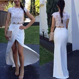 Wholesale China Carpets - Party White Dresses 2017 Fashion Bateau Lace Chiffon Two Pieces Side Split Formal Evening Gowns Custom Made China EF7086