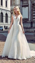 Wholesale Embellished Mermaid Dress - Vintage Lace Wedding Dresses with Detachable Skirt Modest Embellished Bodice Plus Size Eddy K Milano Beads Beach Bridal Gowns 2017 Hot Sale