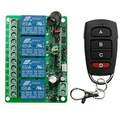 Wholesale 4ch Remote Control Transmitter - Wholesale- DC12V 4CH RF Wireless Remote Control System teleswitch transmitter + receiver universal gate remote control  radio receiver